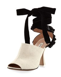 Attico Pamela Canvas And Velvet Ankle Wrap Pump Neutral Neutral Pattern