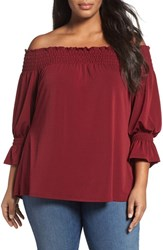 Sejour Plus Size Women's Smocked Off The Shoulder Top Burgundy