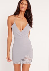 Missguided Strappy Wrap Lace Trim Mini Dress Lilac Grey