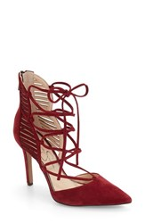 Jessica Simpson Women's 'Cynessa' Ghillie Cage Pump Port Red Suede