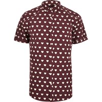 River Island Mens Red Heart Print Short Sleeve Shirt