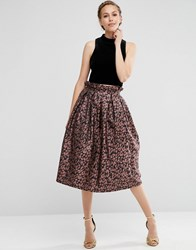 Asos Prom Skirt In Leopard Print With Paperbag Waist Multi
