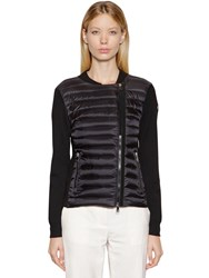 Moncler Nylon And Wool Down Jacket Black