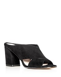 Kenneth Cole Women's Lyra Suede Block Heel Slide Mules Black