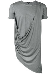 Unconditional Asymmetric Draped Double Front T Shirt Men Cotton Rayon Xs Grey