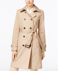 Calvin Klein Petite Double Breasted Belted Trench Coat Only At Macy's Khaki