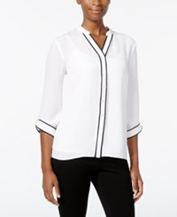 Ny Collection Petite Contrast Trim Blouse White Empathy