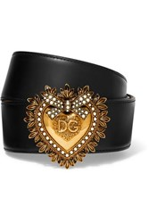 Dolce And Gabbana Embellished Leather Waist Belt Black