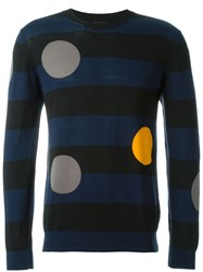 Ps Paul Smith Stripe And Dot Sweater Blue