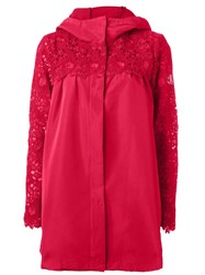 Moncler Gamme Rouge Embroidered Sleeve Raincoat Pink And Purple