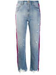 Don't Cry Side Stripe Cropped Jeans Blue