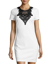 Alexia Admor Short Sleeve Fitted Sequin And Lace Dress White Black