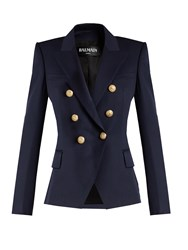 Balmain Double Breasted Wool Jacket Navy
