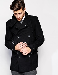 Asos Wool Jacket With Funnel Neck In Black