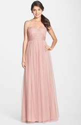 Jenny Yoo Women's 'Annabelle' Convertible Tulle Column Dress Whipped Apricot