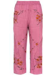 By Walid Reyzi Floral Embroidered Trousers Pink