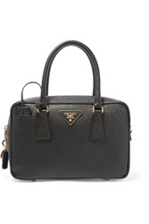 Prada Bauletto Textured Leather Tote Black