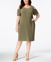Jm Collection Plus And Petite Plus Size Cold Shoulder Dress Olive Sprig