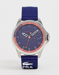 Lacoste Silicone Watch In Navy