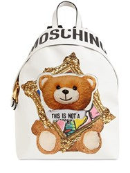 Moschino Teddy Faux Leather Backpack White