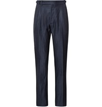 Zanella Midnight Blue Nico Tapered Pleated Virgin Wool And Linen Blend Trousers Blue