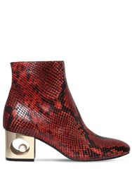 Coliac 55Mm Tiffany Snake Printed Leather Boots Red