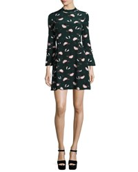 Derek Lam Bell Sleeve Floral A Line Dress Black Green Multicolor