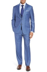 Hickey Freeman Classic B Fit Solid Wool Suit Light Blue Solid