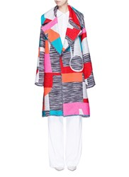 Roksanda Ilincic Marled Mix Tapestry Jacquard Oversize Coat Multi Colour