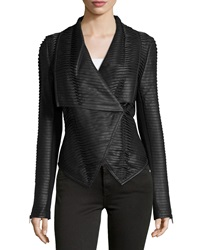 P. Luca Faux Leather Striped Jacket Black