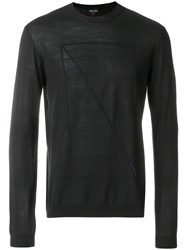 Giorgio Armani Front Prined Longsleeved Sweater Black