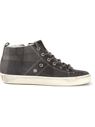 Leather Crown Check Pattern Sneakers Grey