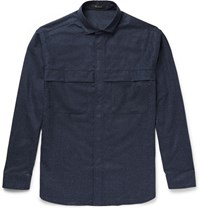Berluti Oversized Cutaway Collar Wool Flannel Shirt Navy