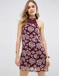 Band Of Gypsies Vintage Style Floral Shift Dress Burgundy Ivory Red