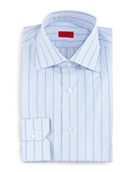 Isaia Wide Stripe Dress Shirt Light Blue