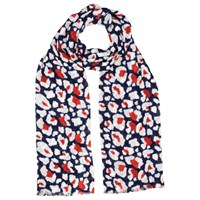 Whistles Floral Leopard Print Scarf Red Multi