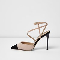 River Island Womens Nude And Black Suede Look Strappy Court Shoes