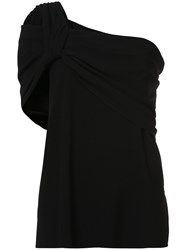 Baja East One Shoulder Top Triacetate Polyethylene Black