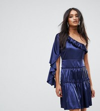 Lioness Frill One Shoulder Tiered Mini Dress Navy