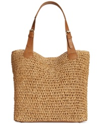 Straw Studios Straw Buckle Strap Tote Dark Natural