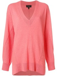 Rag And Bone V Neck Jumper Pink And Purple