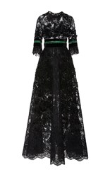 Elie Saab Short Sleeve Beaded Lace Dress Black