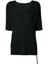 Fabiana Filippi Hanging Side Tie Top Women Cotton Linen Flax Polyester 44 Black