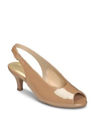 Aerosoles Escapade Peep Toe Patent Pumps Nude