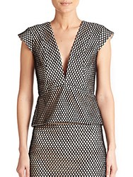 Mason By Michelle Mason Mesh Peplum Top Black Nude
