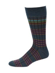 Saks Fifth Avenue Collection Six Color Stripe Dress Socks Grey Charcoal Blue Teal