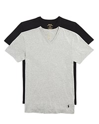 Polo Ralph Lauren Stretch Comfort V Neck Tee Pack Of 2 Grey Black