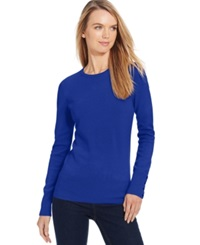 Jm Collection Petite Crew Neck Button Sleeve Sweater Only At Macy's Bright Blue