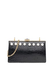 Miu Miu Solitaire Crocodile Effect Clutch Black