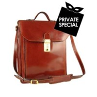 L.A.P.A. Cognac Leather Vertical Briefcase